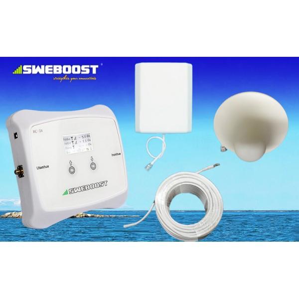 3G Repeater komplett PAKET (300-400 m2) mobilsignalförstärkare 70 dB 16 dBi output 1 takantenn / 30¤ grad uteantenn + 20 + 5 meter kabel för TELIA TELE2 TELENOR eller Tre (3) exkl moms (4796 sek)